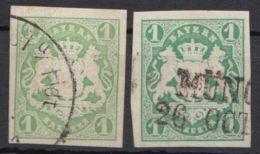 Mi-Nr. 14a,b, 2 Versch. Farben. Breitrandig, Sauber Gestempelt, O - Bayern