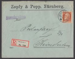 "Mi-Nr. 81 II; EF Auf R-Brief ""Nürnberg"", 25.12.12, Ankunft ""Kaiserslautern"", 26.12.12 - Bayern"