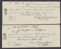 """Postschein: """"Ravensburg"""", 2 Versch. Scheine Aus 1843 Und 1846 - Wuerttemberg"""