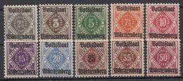 "Mi-Nr. 134/43, Aufdruck ""Volksstaat"", Kplt., ** - Wuerttemberg"