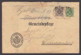 """GS, Mi-Nr. Wie DUB5, """"Oberamtspflege Waldsee"""", Vorgedruckter Dienstumschlag, Bedarf Mit Zfr. """"Beförderungsspuren§,  - Wuerttemberg"""