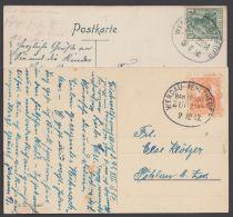 """""""Werdau- Mehltheuer"""", 2 Bedarfs-AK, 1910 Und 1917, Versch. Zugnummern - Briefe U. Dokumente"""
