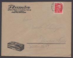 """Mi-Nr. 391, Dek. Beidseitig Bedruckter Firmenbrief """"Rumbo- Seifen- Werke"""", Freital, Marke Pass.,  Perfin """"GR"""" - Deutschland"""