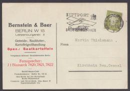 """Mi-Nr. 465, EF Mit Perfin """" B Und B"""", Bernstein Und Baer, Berlin, Sehr Dek. Werbekarte - Deutschland"""