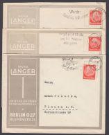 """Mi-Nr. 469, 3 Belege Mit EF, Alle Firmenzudruck """"Langer, Berlin"""", Dekorativ - Deutschland"""