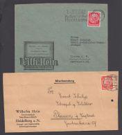 """Mi-Nr. 485, 487, 2x EF Auf Firmenbrief """"Hein, Heidelberg"""", Versch. Dek. Zudrucke - Deutschland"""