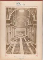 Photo PARIS Sur Carton Recto : Intérieur De La Madeleine , Verso :  Boulevard De La Madeleine - Voir Description - Anciennes (Av. 1900)