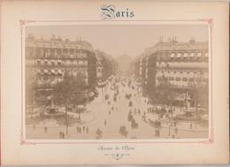 Photo PARIS Sur Carton Recto : Avenue De L' Opéra , Verso : L' Opéra - Voir Description - Anciennes (Av. 1900)