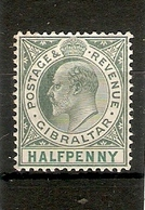 GIBRALTAR 1904 ½d DULL AND BRIGHT GREEN SG 56 WATERMARK MULTIPLE CROWN CA, ORDINARY PAPER, MOUNTED MINT Cat £23 - Gibraltar