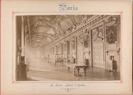 Photo PARIS Sur Carton Recto : Le Louvre Galerie D' Apollon , Verso : Arc De Triomphe Du Carrousel - Voir Description - Photos