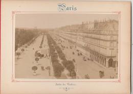 Photo PARIS Sur Carton Recto : Jardin Des Tuileries , Verso : Eglise Saint Germain L' Auxerrois - Voir Description - Photos