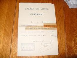 Casino De Vittel Certificat Caissière 1933 - Vieux Papiers