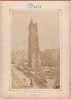 Photo PARIS Sur Carton Recto : La Tour Saint Jacques , Verso : Panorama De La Cité - Voir Description - Anciennes (Av. 1900)