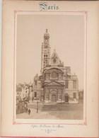 Photo PARIS Sur Carton Recto : Eglise St Etienne Du Mont , Verso : Le Panthéon - Voir Description - Anciennes (Av. 1900)