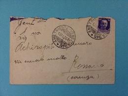1936 BUSTA CON ANNULLO AMBULANTE TRIESTE VENEZIA 345 DA FIUME A ROSSANO - 1900-44 Vittorio Emanuele III
