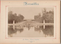 Photo VERSAILLES Sur Carton Recto Le Château Bassin D'Apollon , Verso Le Château Galerie Des Batailles Voir Description - Anciennes (Av. 1900)