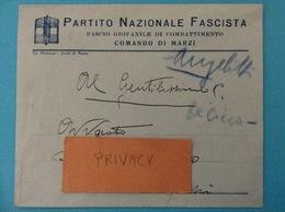 BUSTA PUBBLICITARIA PARTITO NAZIONALE FASCISTA FASCIO GIOVANILE DI COMBATTIMENTO COMANDO DI MARZI - Storia Postale