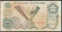 °°° JUGOSLAVIA 2000000 DINARA 1989 °°° - Jugoslavia