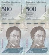 PAREJA CORRELATIVA DE VENEZUELA DE 500 BOLIVARES DEL 23 DE MARZO DEL 2017 EN CALIDAD EBC (XF)  (BANKNOTE) DELFIN-DOLPHIN - Venezuela