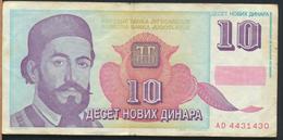 °°° JUGOSLAVIA 10 NOVIK DINARA 1994 °°° - Jugoslavia