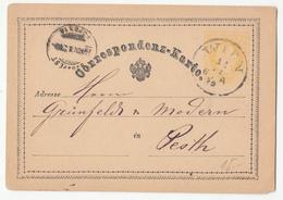 Austria Postal Stationery Postcard Correspondenz-Karte Travelled 1874? Wien To Budapest B180725 - Ganzsachen
