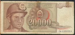°°° JUGOSLAVIA 20000 DINARA 1987 °°° - Yougoslavie