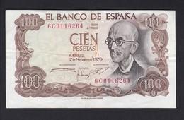BILLETE DE 100 PTAS DEL AÑO 1970 MUY DESCENTRADO - MAL CORTADO (BANK NOTE) MANUEL DE FALLA - [ 3] 1936-1975 : Régimen De Franco