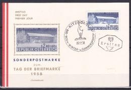 Austria/1958 - Stamp Day/Tag Der Briefmarke - 2.40 S + 60 G - FDC Postcard 'KITZUHEL' - FDC