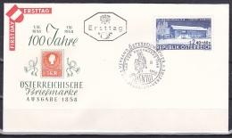 Austria/1958 - Stamp Day/Tag Der Briefmarke - 2.40 S + 60 G - FDC - FDC