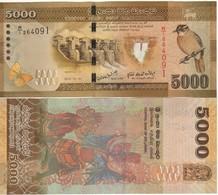SRI LANKA  5'000 Rupees  Dated 2010.01.01   P128a   Yellow Eastern Bulbul At Right  UNC - Sri Lanka