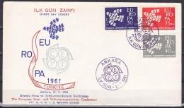 Turkey/1961 - Europa CEPT - Set - FDC - 1921-... Republik