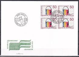 Liechtenstein/1988 - Cultural Co-operation/Gemeinschaftsausgabe Zusammenarbeit/Commune Collaboration - 50 Rp Block - FDC - FDC