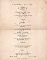 95-SUPERBE MENUS DU RESTAURANT HOTEL LEBRUN à AUVERS SUR OISE Du 3 JANVIER 1898 - Menus