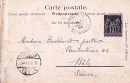 Carte Postale Chamonix Haute Savoie Mont Blanc Argentières 1900 Type Sage Basel Bâle Suisse - 1898-1900 Sage (Type III)