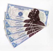 "Lot De 5 Billets De Banque Fantaisie ""One Credit"" Star Wars Bank Note - Dark Vador - La Guerre Des Étoiles - Darth Vader - Fictifs & Spécimens"