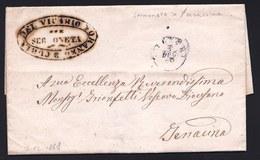 1868 LETTERA SENZA COSTI DI SPEDIZIONE - ( DEL VICARIO FORANEO ) DA SERMONETA A TERRACINA - - Marcophilie