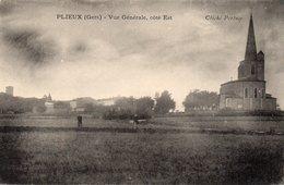 PLIEUX ) GERS  -BELLE ET RARE  CARTE  VUE GENERALE CÖTE OUEST -LE VILLAGE  L'EGLISE -PERTUZE - Francia