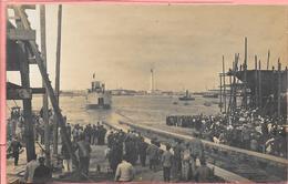 Carte Photo De Lancement D'un Bateau Des Chantiers Navals Constructions Dunkerque Phare En Face - Dunkerque