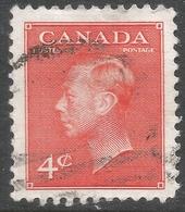 Canada. 1949-51 KGVI. 4c Orange Used. SG 417b - 1937-1952 Reign Of George VI