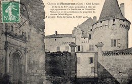 FLAMARENS)  GERS- CHATEAU  COTE LEVANT   ET EGLISE    -BEAU TEXTE EXPLICATIF CIRCULEE 1914 Photo Capdecomme - Otros Municipios
