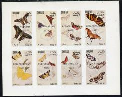 9521 Dhufar 1972 Butterflies Imperf  Set Of 8 Values Opt'd Red Crescent 1973 (1b To 1R) Unmounted Mint (medical) - Cinderellas