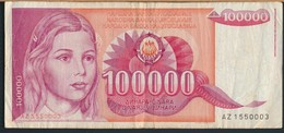 °°° JUGOSLAVIA 100000 DINARA 1989 °°° - Yugoslavia