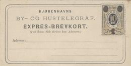 """Formulaire  TELEGRAF  Pré-affranchi  10 Ore  """" BY - OG HUSTELEGRAF """" - 1864-04 (Christian IX)"""