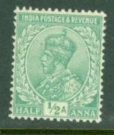 India: 1911/22   KGV      SG156    ½a    Emerald       MH - India (...-1947)