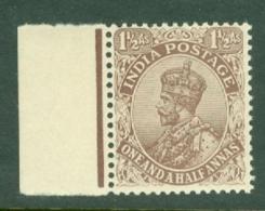 India: 1911/22   KGV      SG165    1½a    Chocolate  [type B]       MNH - India (...-1947)