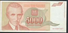 °°° JUGOSLAVIA 5000 DINARA 1993 AUNC °°° - Yugoslavia
