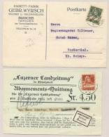 Schweiz - 1922/5 - 10c Tell On Postcard & 20c Tell On Abonnements Quittung - Zwitserland
