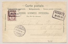 Schweiz - 1898 - 5c On Coloured Postcard Vierwaltstätter See From SCHWYZ To Kreuzlingen - 1882-1906 Armoiries, Helvetia Debout & UPU