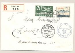Schweiz - 1941 - 1 Fr Pro Aero On R-Airmail From BUOCHS To Zürich - Briefe U. Dokumente