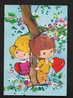 Dessin Enfants Couple Garçon Fille - Carte Illustrateur -  Romance Amour Coeur - Dessins D'enfants